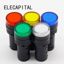 1 pces 16mm sinal led luz indicadora azul verde vermelho, branco amarelo piloto lâmpada 12 v 24 v 220 v
