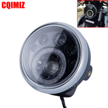 Motorcycle E-Mark E4 E24 7 LED Head Light ST CAFE RACER Iron Horse Chopper Custom Headlight 12V High Low Beam Running
