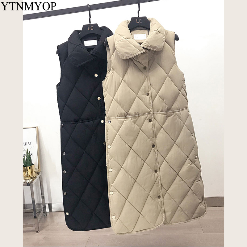 YTNMYOP High Street Winter Long Vest Women Thicken Warm Cotton Female Loose Waistcoat Ladies OverCoat Gilet Femme