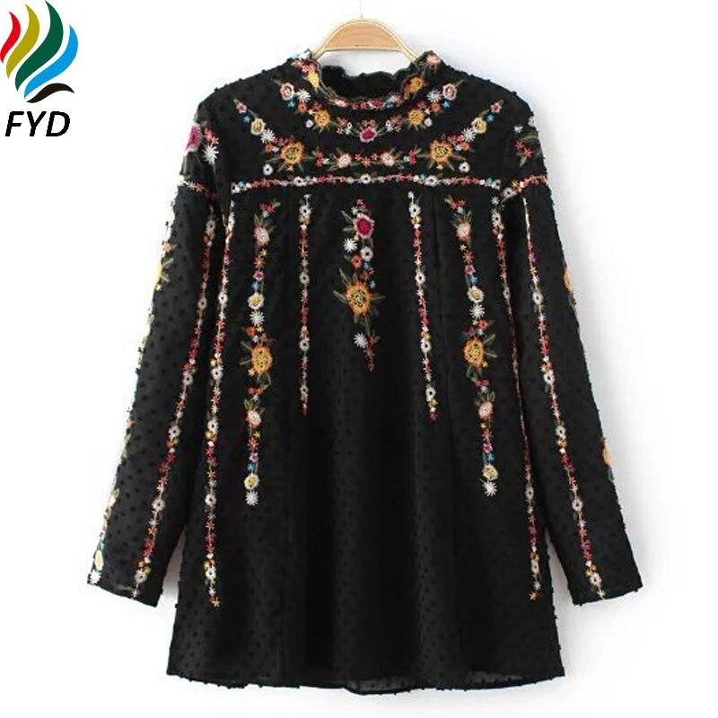 Mujeres de La Manera europea Blusa Bordada Camisas Nueva Primavera 2017 Vintage