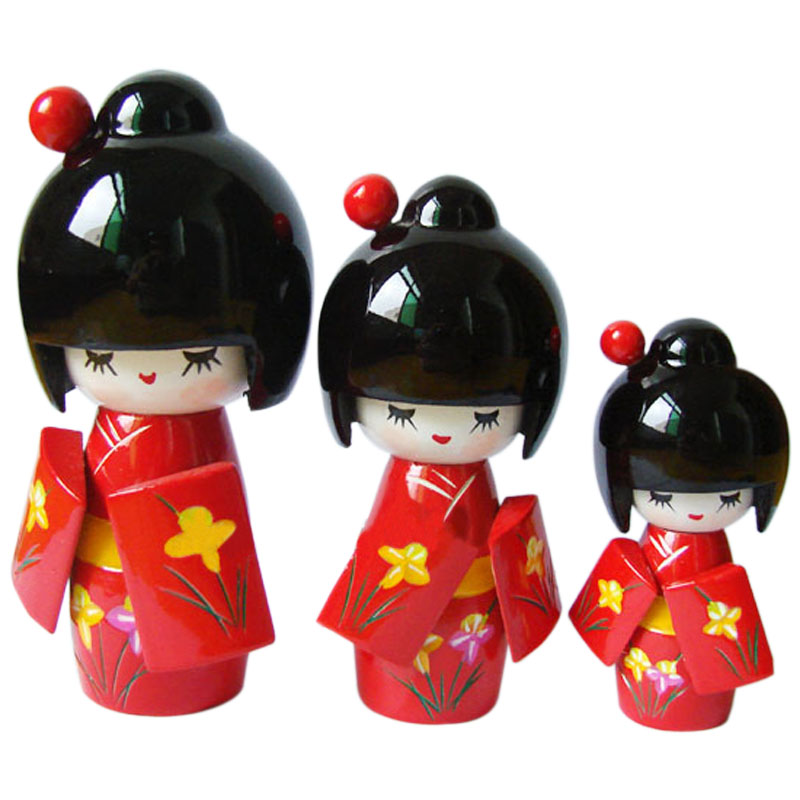 Kawaii Japanese Kimono Doll Puppet Doll Ornaments Decorated Three piece Doll Crafts 88 M09