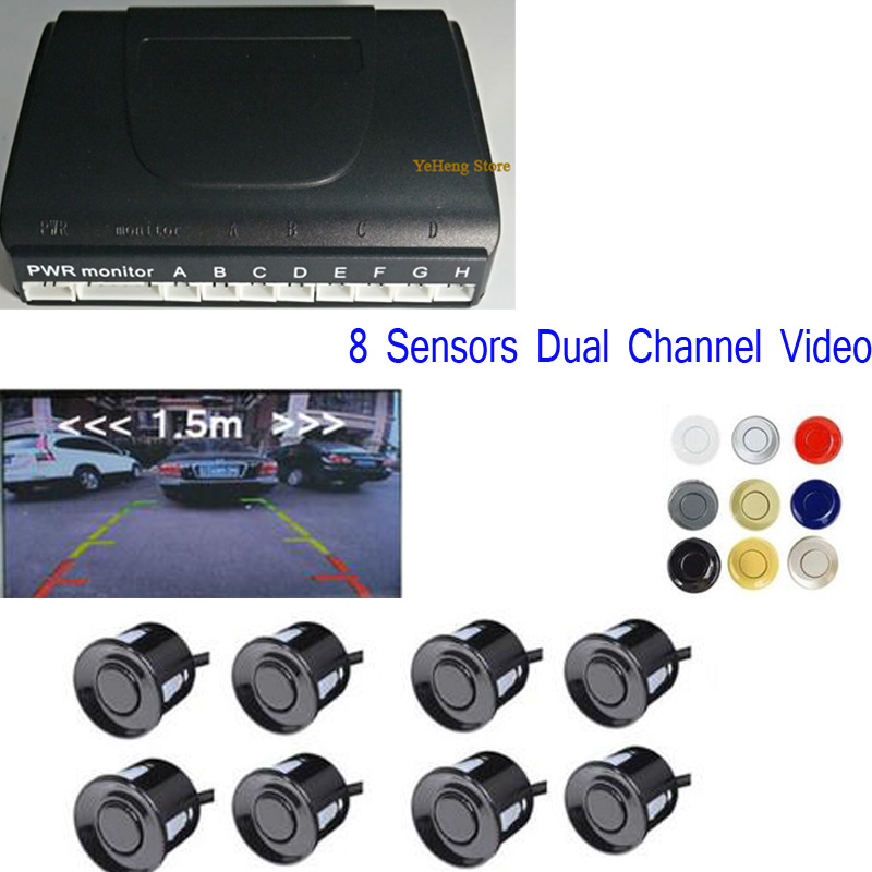 Visual Reverse Radar System 8 Parking Sensor Car Vehicle Reverse Backup Radar Support Front and Rear View Camera and car monitor