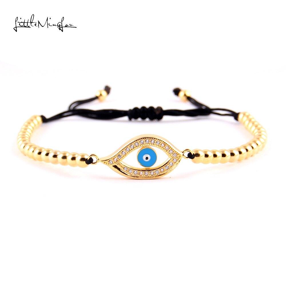 WML Luxury CZ white zircon eye & 4MM Copper Beads Macrame men Bracelets Bangles for women jewelry