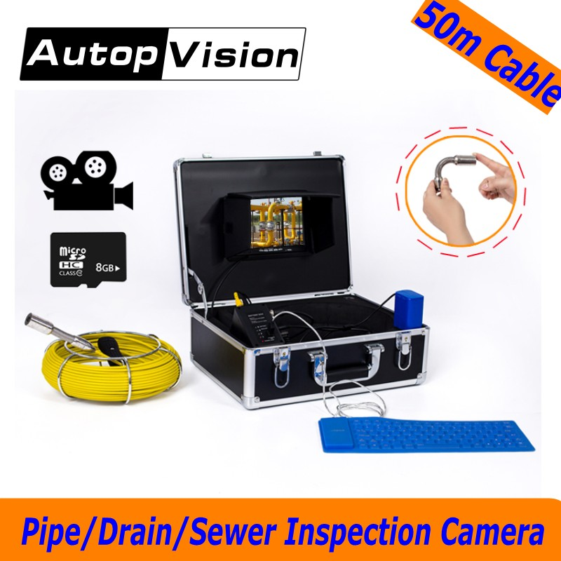 WP71 50M Cable Sewer Drain Pipe Inspection Camera System 7''LCD Video Snake Pipeline Endoscope Borescope underwater mini Camera dhl free wp90 50m industrial pipeline endoscope 6 5 17 23mm snake video camera 9 lcd sewer drain pipe inspection camera system