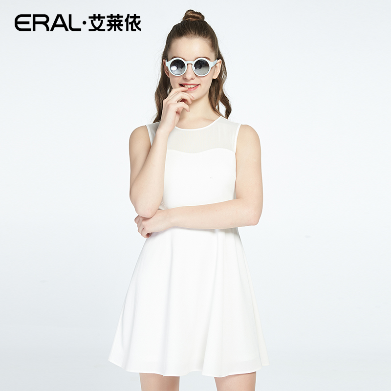 ERAL New Summer Arrival Women/Girl Clothes Round Neck Sleeveless Solid Color A-Line Dress Female Street Style ERAL36244-FXAA