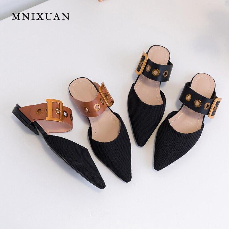 Mnixuan 새로운 도착 패션 여성 신발 플랫 뮬 2019 봄 여름 새로운 패브릭 지적 발가락 캐주얼 버클 레이디 슬리퍼 큰 크기-에서여성용 플랫부터 신발 의  그룹 1