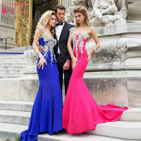 Watermelon red  Royal Blue Evening Dress Mermaid Long Dress One shoulder Elegant Formal Dress Arabic Dress longo de festa Z243