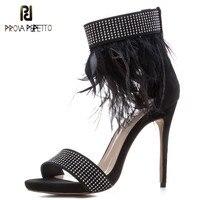 Prova Perfetto Fashion Women Sandals Summer Brand Fur Feather High Heels Shoe Sandals Women Open Toe Party Shoes Plus Size 33 43