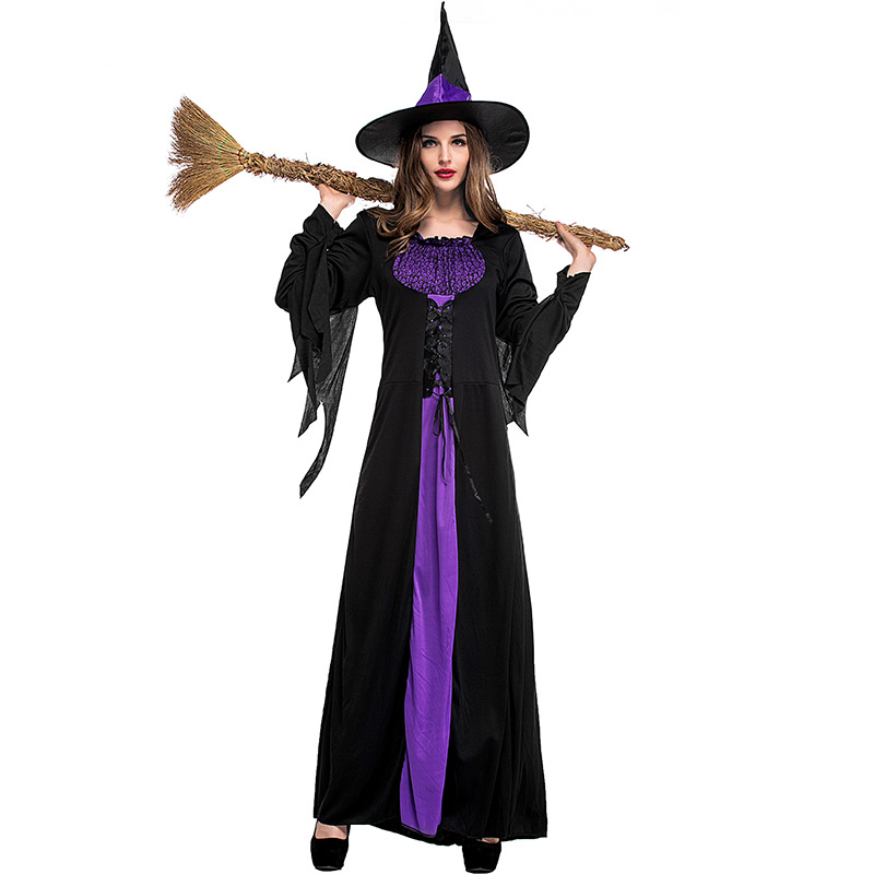 Gothic Black Purple Witch Long Halloween Costumes Women Sorceress Costume Adult Witch Fancy Dresses anime Cosplay show clothes