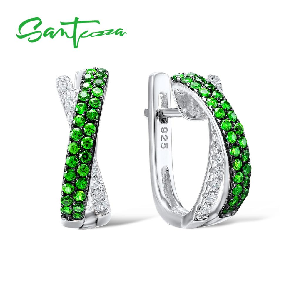 SANTUZZA 925 Sterling Silver Stud Earrings Jewelry Earrings For Women Round Green Stones White Cubic Zircon 925 Sterling Part