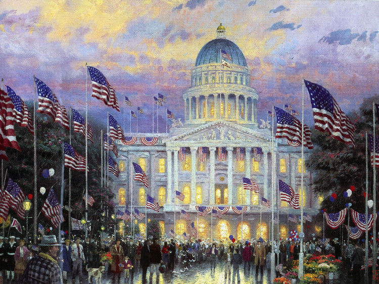 Large Oil Painting The White House Of America In Sunset Canvas Handpainted 36