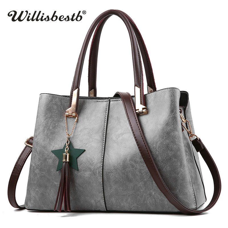 Hot Sale 2018 New Women Handbag Tassel Casual Leather Lady Crossbody Bags Luxury Brand Female Tote Bags Messenger Bags For Girls hot new black red women s bags famous brand handbag leather lady shoulder bags clutches diagonal mochila messenger casual tote