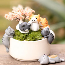1pc Mini Katten Miniatuur Cartoon Levendige Tuin Miniaturen Craft Fairy Decor Micro Landschap Home Plant Potten Bonsai Tuin Decor(China)