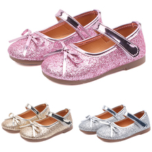 2019 Summer Kids Dance Party Girl Flat Shoes Fashion Sweet Princess Children Sandals Toddler Baby Girl Glitter Bowknot Shoes P25 2017 summer girls sandals children princess shoes for party wedding dress dance kids toddler shoes baby flat sandals
