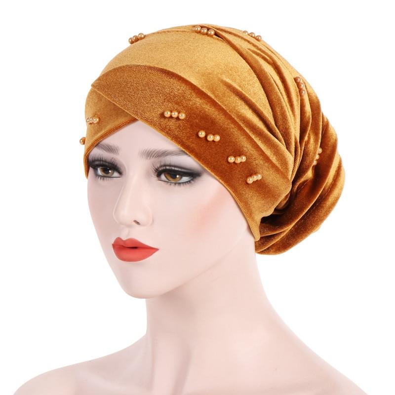 New Fashion Women Autumn Winter Muslim Beading Pearl Ruffle Hat Beanie Scarf Turban Head Wrap Cap  #4F09 (7)