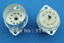 Free Shipping 10PCS  GZC9-F-A-G B9A  new 9-pin gold tube sockets ceramic base suitable for 12ax7 12au7/12AT7