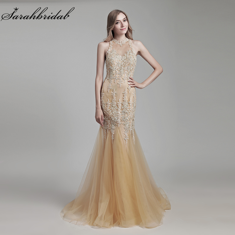 New Color Sexy Champagne In Stock Lace Mermaid Floor Length Formal Evening Dresses Appliques Crystal Beaded