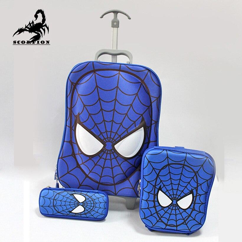 3 PCS Spiderman Trolley Suitcase Set Kids Cartoon Spider Man ...