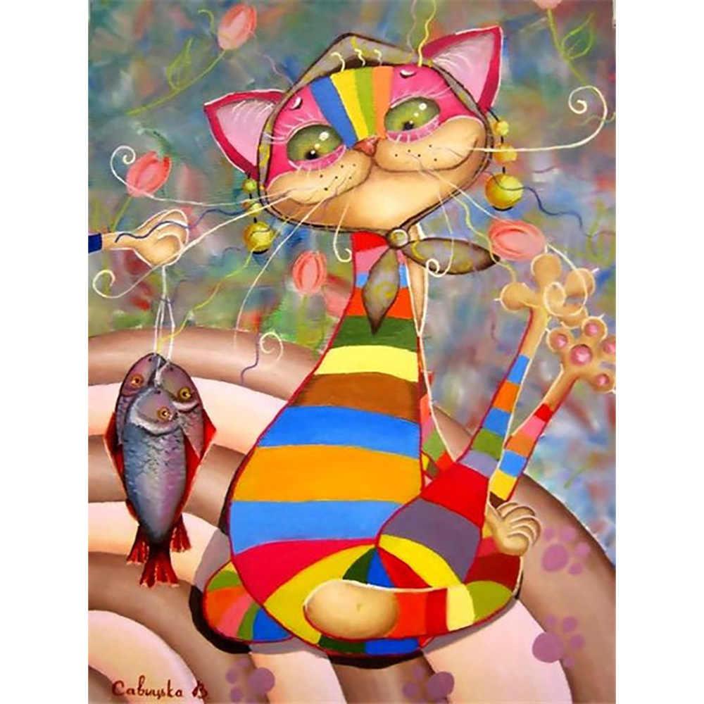 เพชรเต็มรูปแบบเจาะสแควร์/รอบบทคัดย่อแมวปลาโมเสค DIY เพชรจิตรกรรมข้ามปักเย็บปักถักร้อยตกแต่งบ้าน