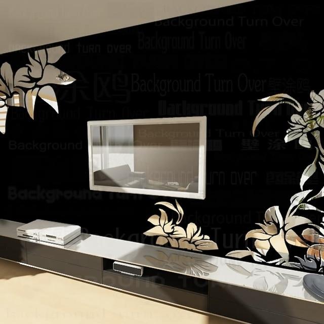 Творческий Диагональ элегантный завод цветок большое настенное зеркало наклейки Лучший DIY украшения для ТВ диван фон Декор интерьера R008