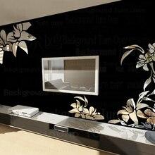 Creative diagonal elegant plant flower large wall mirror stickers best DIY decoration for TV sofa background interior decor R008