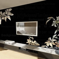 Creative diagonal elegant plant flower large wall mirror stickers best DIY decoration for TV sofa background interior decor R008