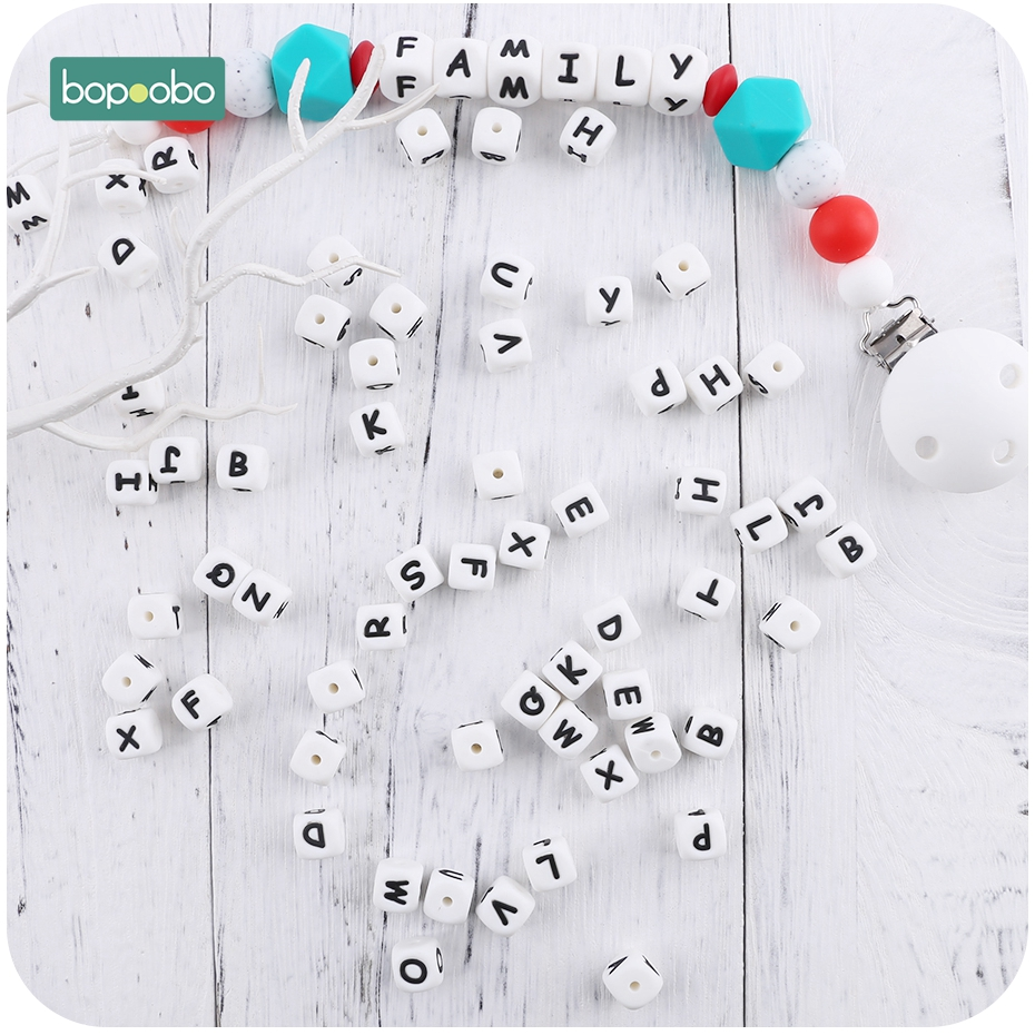 Bopoobo 10pc Silicone Rodent Baby Teething Letters Beads Food Grade Silicone Pearl Teether Beads 10mm Baby Silicone Teether Bead
