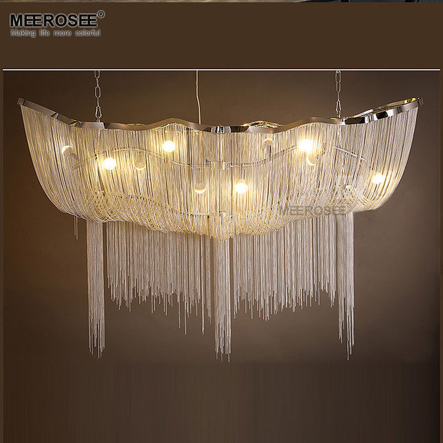 Aluminum Chain Chandelier Light Fixture Vintage Empire Suspension Lamp French Hanging Re For Living Room