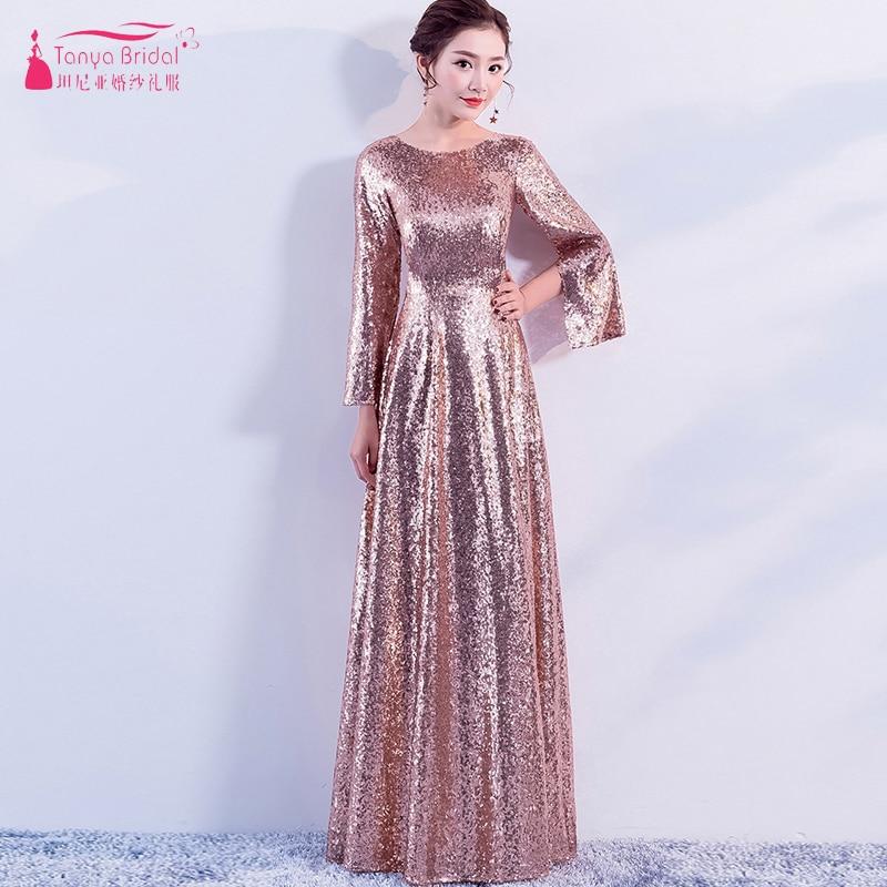Линия с длинным рукавом платья подружек невесты блестками розового золота Элегантный Дешевые горничной honor платья Размер 0-Размер 10 ZB037