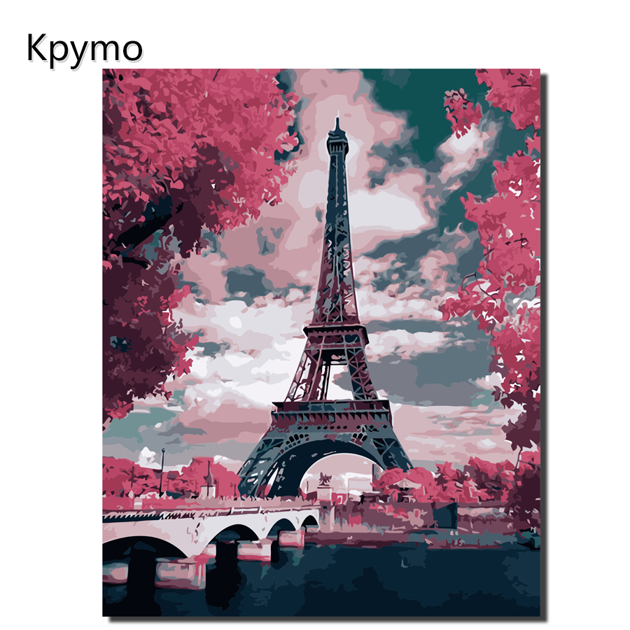 Kpymo Home Decor Canvas Painting by numbers City Street Iron tower Wall Pictures Modern color numers for Living RoomOilPainting