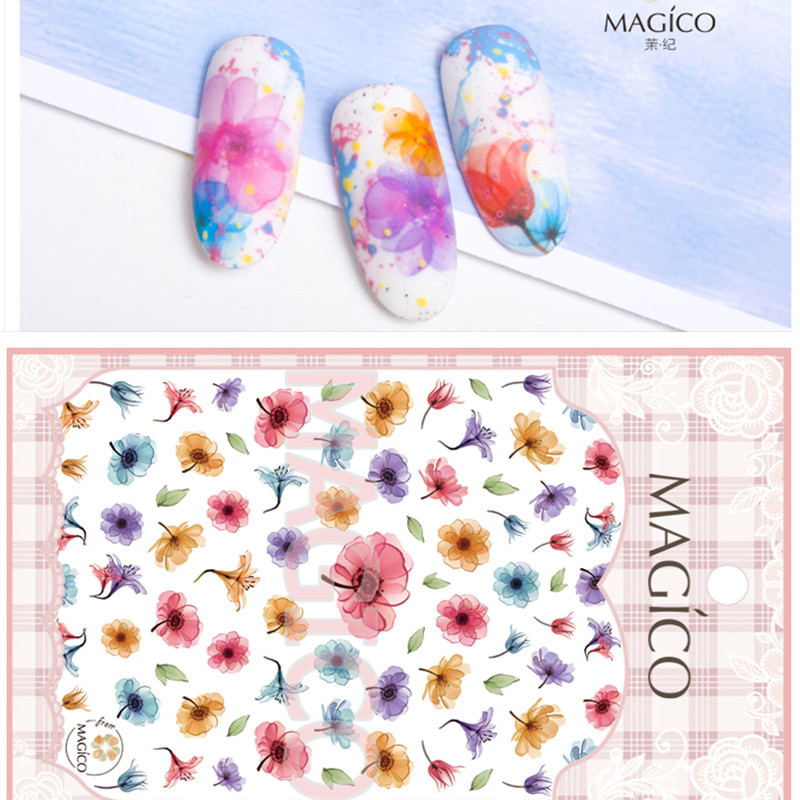 1 Sheet Flower Fl Nail Sticker Ultrathin 3d Art Charms Blooming Stick On Nails Accesories