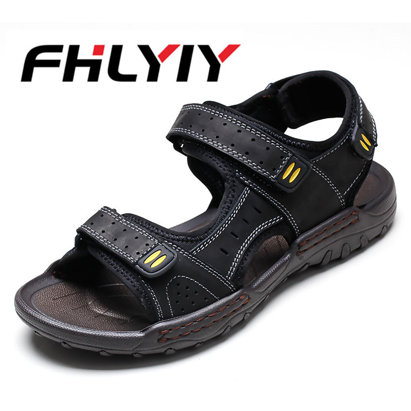 New Fashion Summer Breathable Leisure Beach Men Shoes High Quality Leather Sandals The Big Yards Mens Sandals Size 38-45