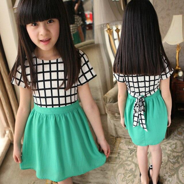 6deb5f4097 De alta Calidad de la ropa de Los Niños de la escuela de verano a cuadros  de gasa verde vestidos de princesa para 7 8 9 ...