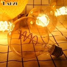 LARZI ретро Спираль нити светодиодный лампы G80 G95 G125 4 Вт E27 220V затемнения Эдисон лампы 2200K теплый желтый светодиодный светильник