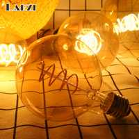 LARZI Retro Spiral Filament LED Bulb G80 G95 G125 4W E27 220V Dimmable Edison Lamp 2200K Warm Yellow Led Light