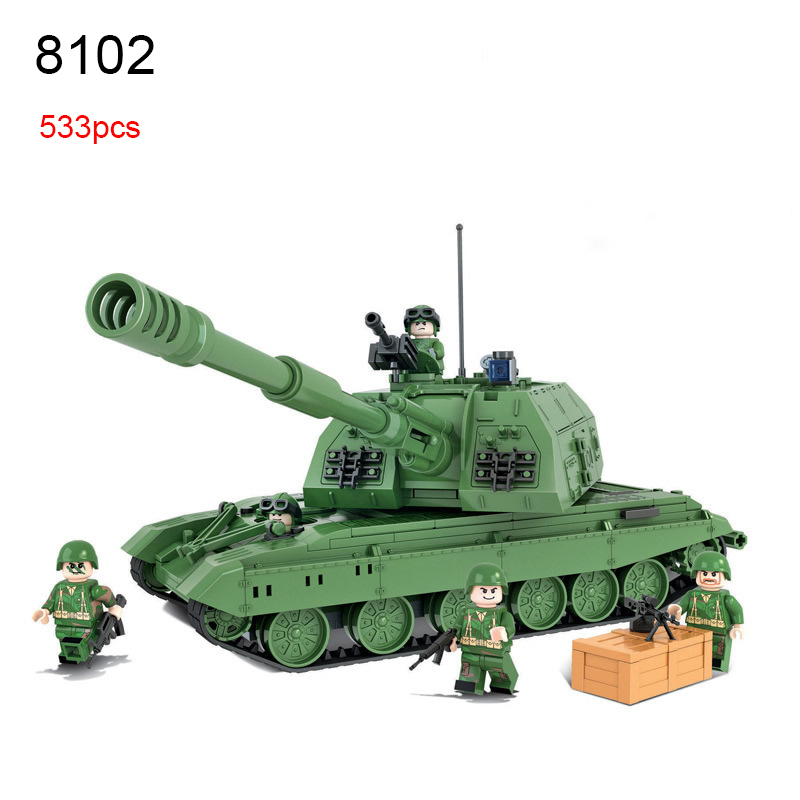 Winner 8102 Tank Battle 2S19 Self Propelled Howitzer Team Military series Set Building Brick Block Educational Toy Kids Toys 548pcs military ww2 german panzer iii tank ausfl primary battle tank model building block assembly toy for kid christmans gift