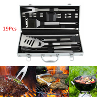 BBQ Tools Barbecue Grill Tool Set Kit 19Pcs Stainless Steel With Aluminum Case outdoor camping barbecue tool