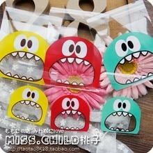 100pcs 7cm&10cm OPP Cute small Monster Sharp teeth Baking Christmas Gift Packaging Bags Wedding Cookie Candy Plastic bag B136(China (Mainland))