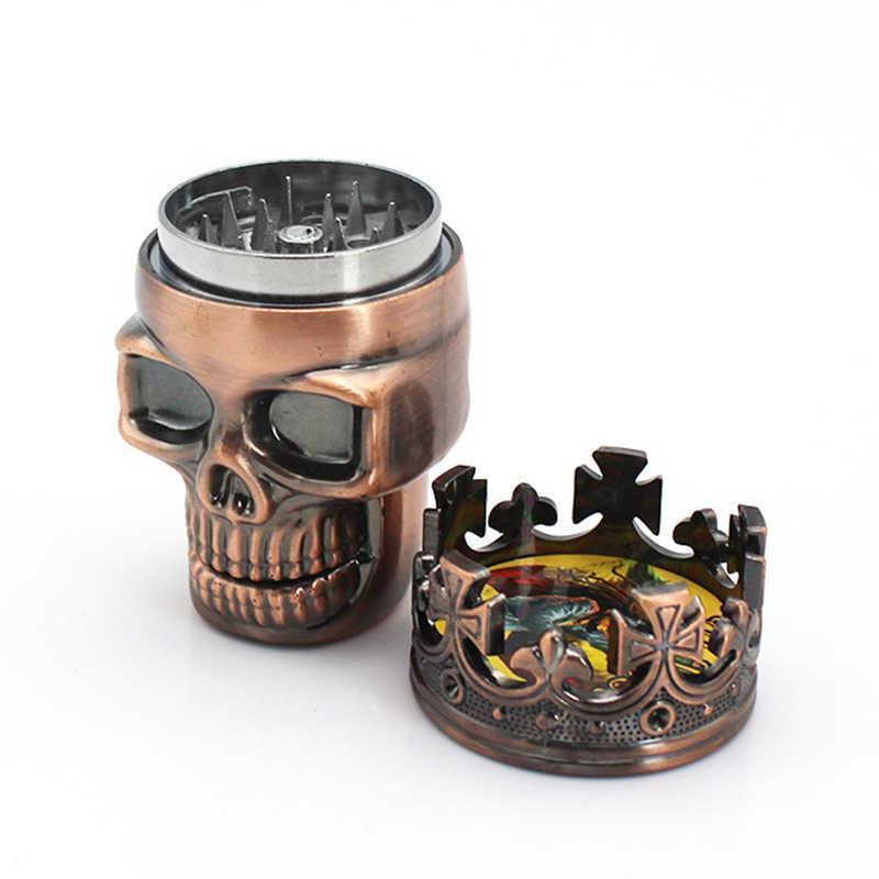 3 層頭蓋骨モードパイプグラインダーパイプ喫煙たばこパイプ Herb 喫煙パイプギフトグラインダー煙水ギセルクラッシャー