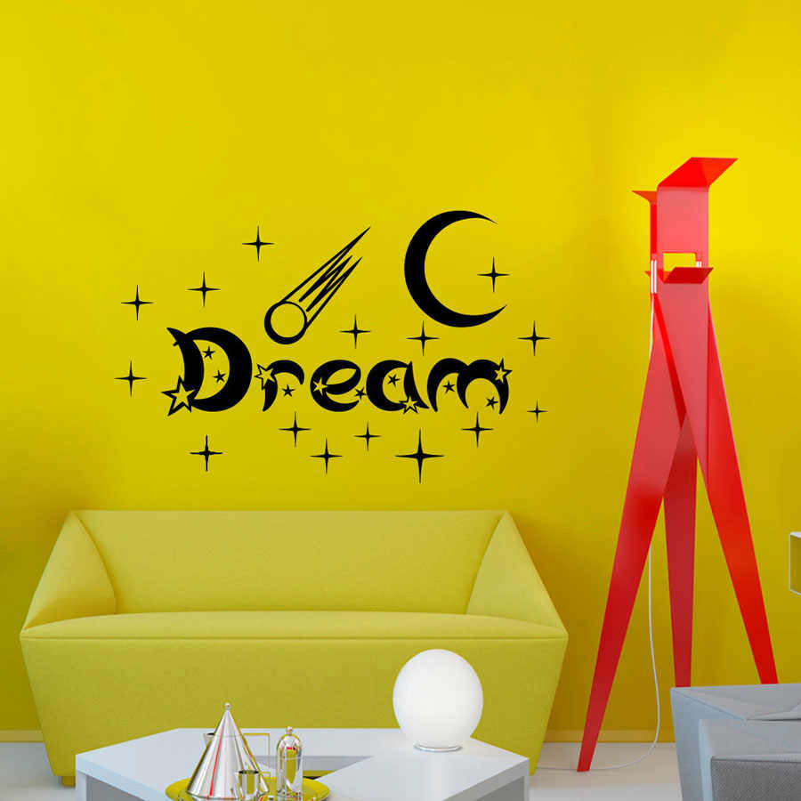 ZOOYOO New Design Bedroom Wall Stickers Moon And Stars Home Decor Vinyl Removable White Dream Wall Decal