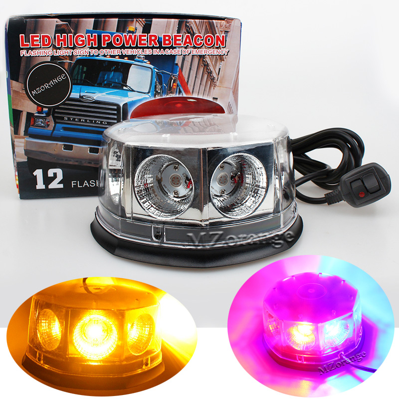 8 LED Flashing Mode Car Auto Beacon Lights Emergency Hazard Police Warning Strobe Light Strong Magnetic Base Amber Red Blue amber red blue white emergency hazard warning led mini bar strobe light w magnetic base