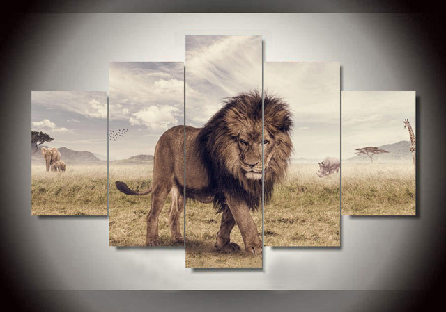 Wall Art Printed Animals Lion Group Painting By Numbers Room Decor Print Poster Picture Canvas