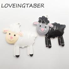 (Escolha a cor em primeiro lugar) mais novo 46mm * 45mm 10 pçs/lote todos esmalte fazenda animal ovelhas pingentes para crianças jóias fazendo