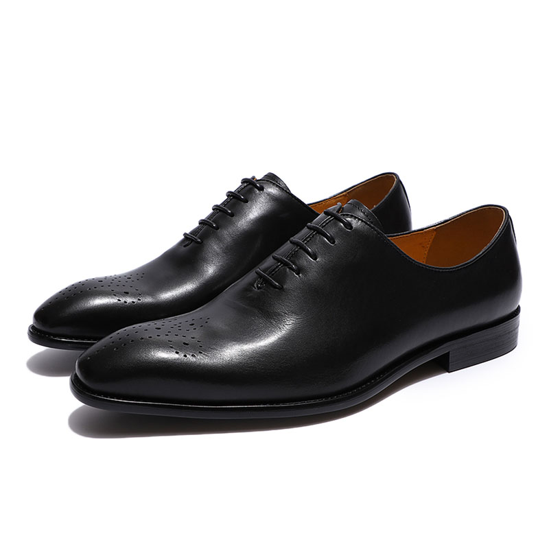 Italian Designer Cow Genuine Leather Formal Oxford Men Shoes Lace Up Pointed Toe Business Office Work Dress Shoes Male Footwear