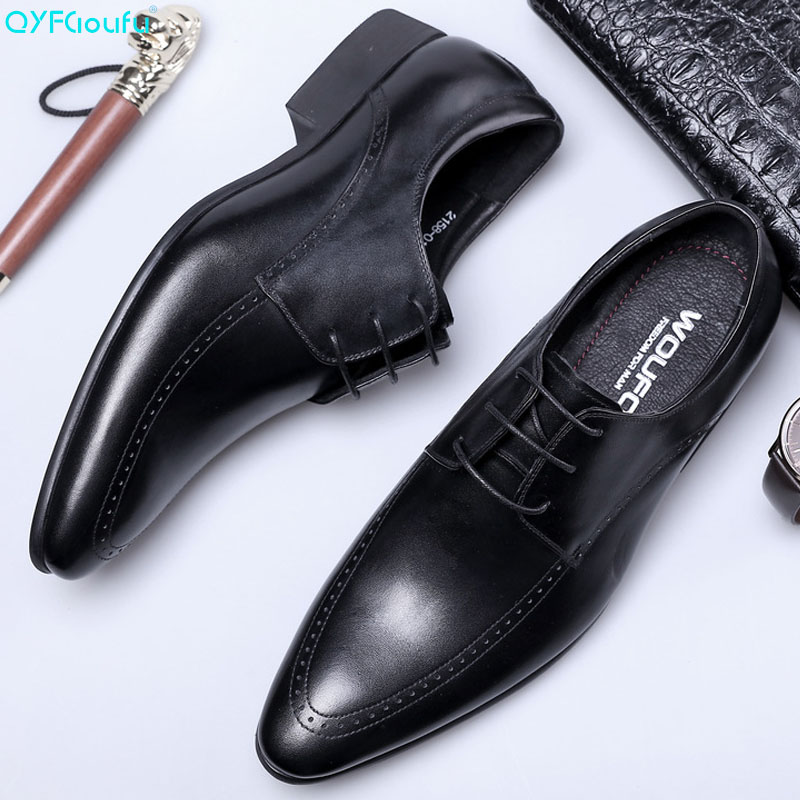 QYFCIOUFU 2019 Handmade Fashion Luxury Wedding Brand Men 39 s dress shoes Genuine Leather business Mens Formal oxford Dress Shoes in Formal Shoes from Shoes