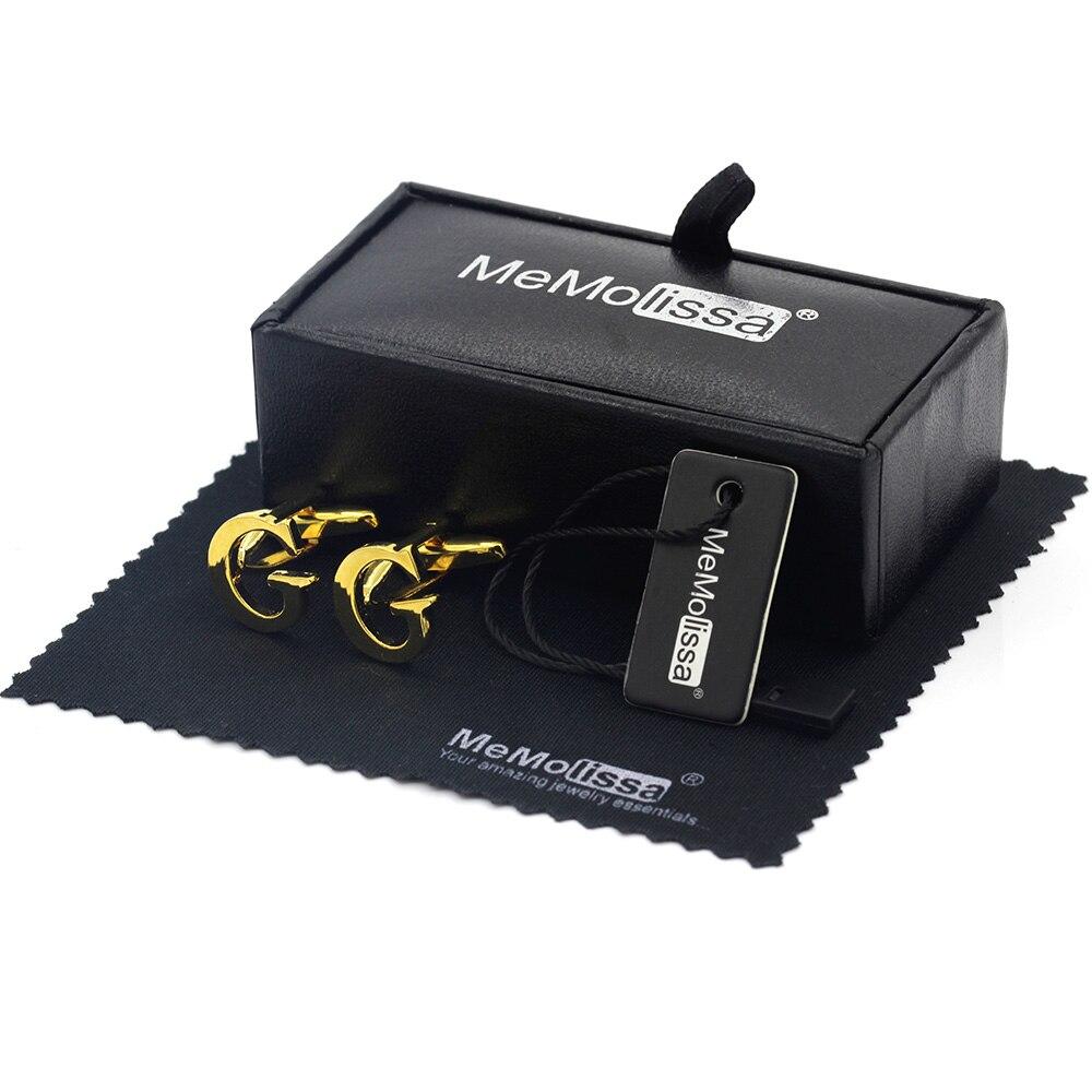 MeMolissa ekran kutusu kol düğmeleri moda G harfi kol düğmeleri kişilik adı  mektubu altın erkekler için kol düğmeleri ücretsiz etiket ve silme bezi Tie  Clips & Cufflinks