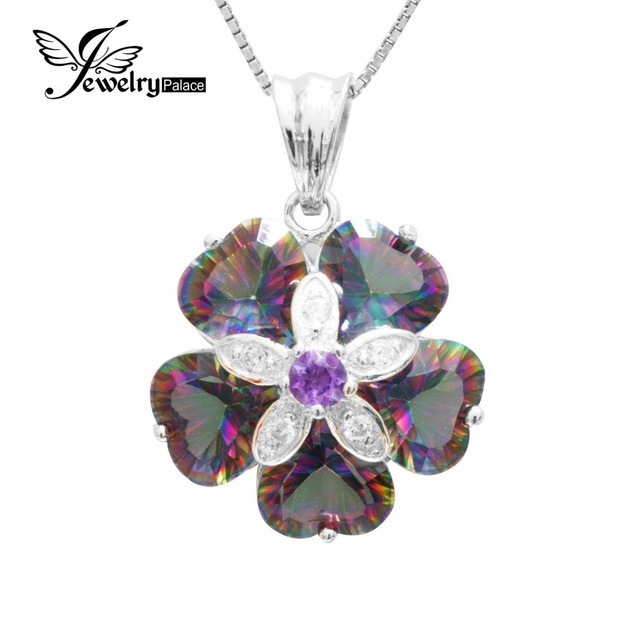 Heart Shape Luxury 5ct Genuine Natural Rainbow Fire Mystic Topazs Pendant Necklace Real Solid Pure 925 Sterling Silver Jewelry