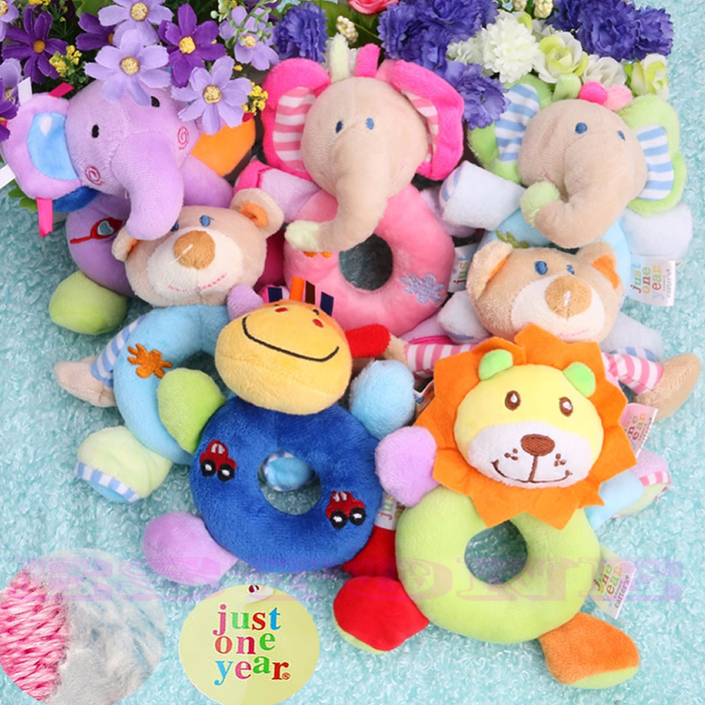 Baby Kids Animal Model Wrist Hand Bell Rattle Soft Plush Stuffed Educational Toy