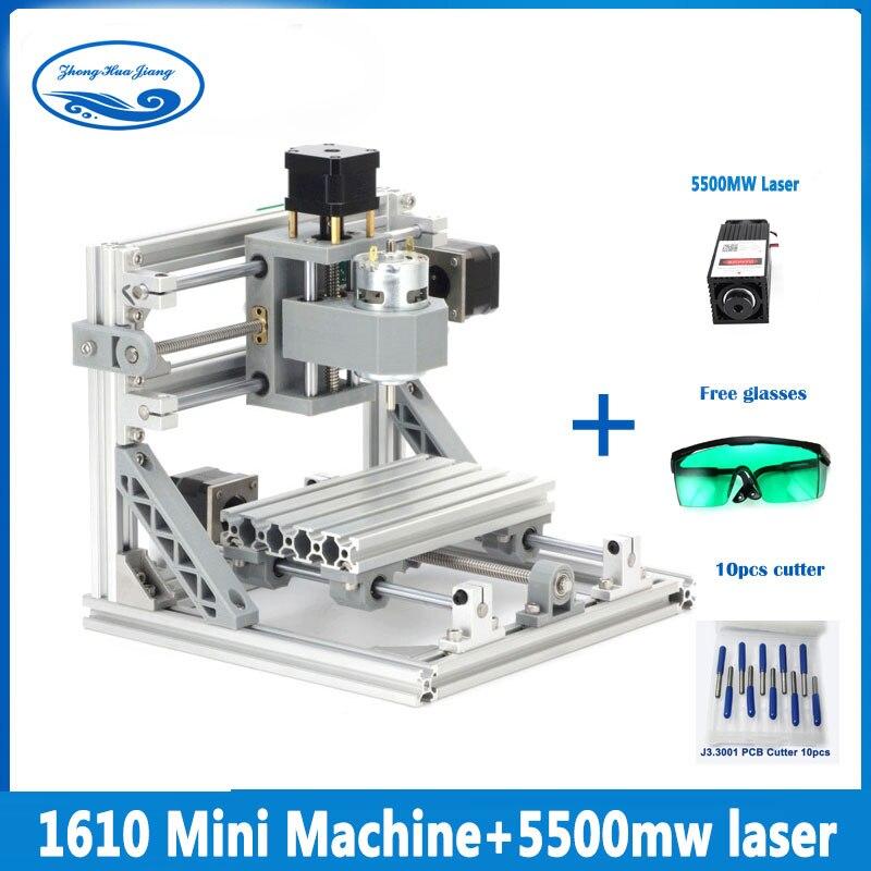 CNC 1610 + 5500 mw laser GRBL Diy mini CNC machine haute puissance laser machine de gravure, 3 axe pcb fraiseuse, Bois Routeur
