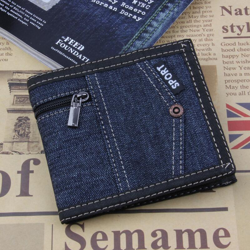 New Blue Denim Men Wallets Short Coin Purse Small Vintage Wallet Canves Card Holder Pocket Purse Men Wallets Birthday Gift
